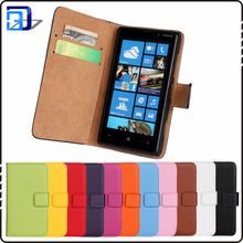 Genuine Real Leather Wallet Folio Flip Case Cover Magnetic Stand Function with Card Slots/ Cash Compartment For Nokia Lumia 820