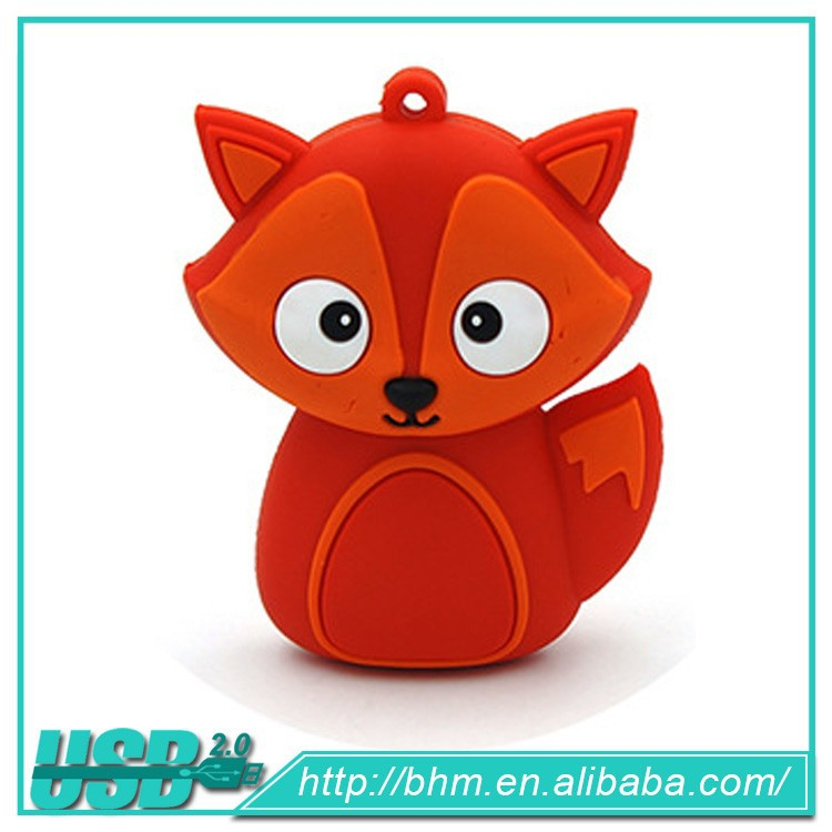 Animal cute usb disk/free sample PVC Pen drive/The fox shape memory stick