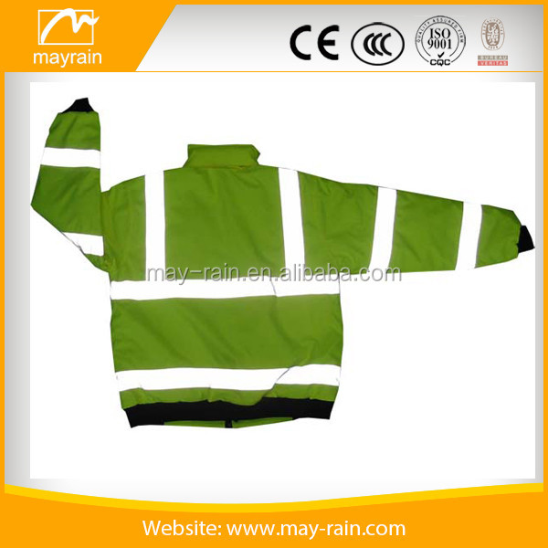 high visibility green safety workwear jacket with reflective tapes
