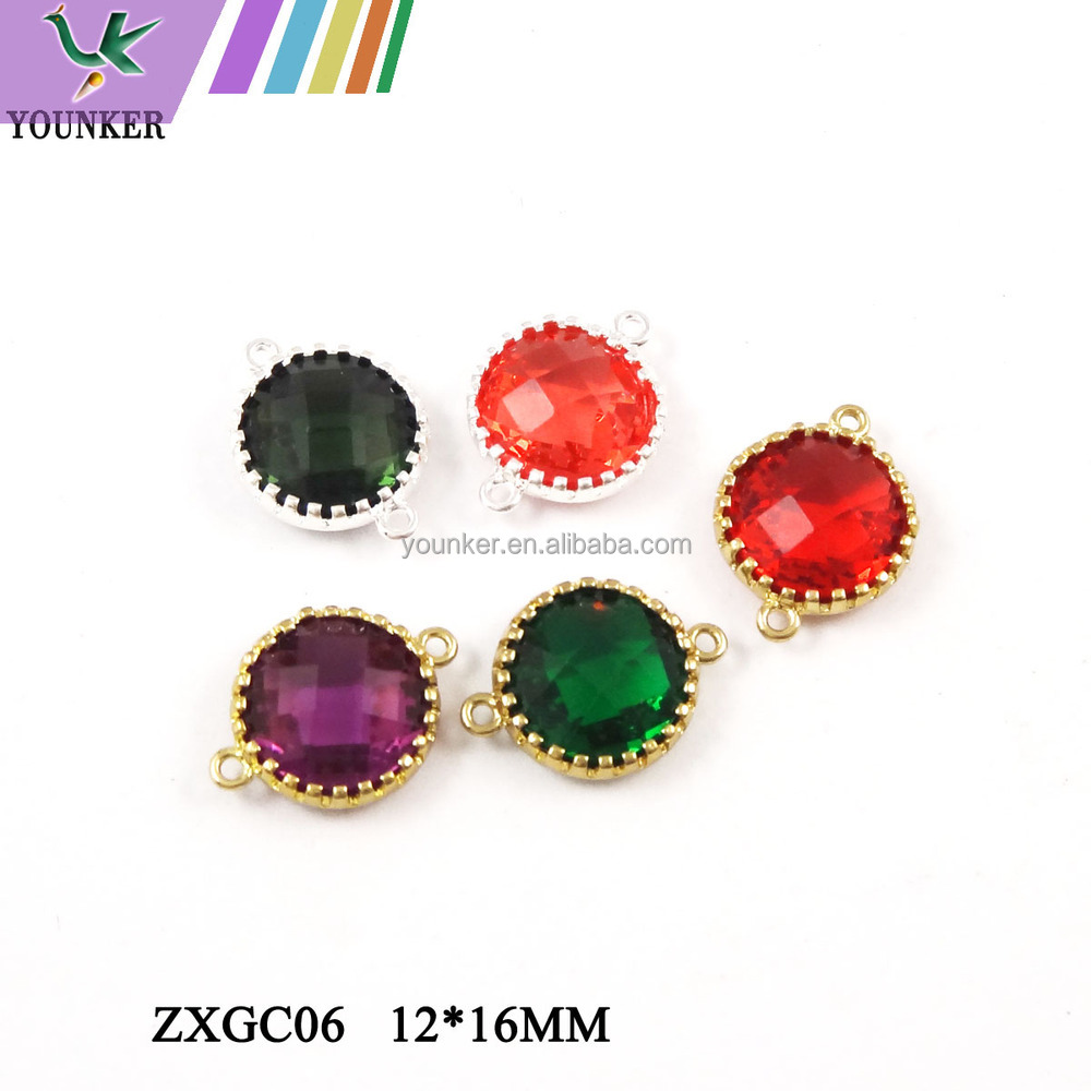 2017 New Design Hot Sale Zircon Faceted Pendant Glass Gold & Silver Bezel Paw Setting gemstone Connectors for Jewelry Making.