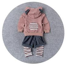 CB10049 spring design baby clothing stripes pattern babies hoodies sets