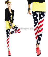 The American flag printed pants and Europe style the milk silk print leggings