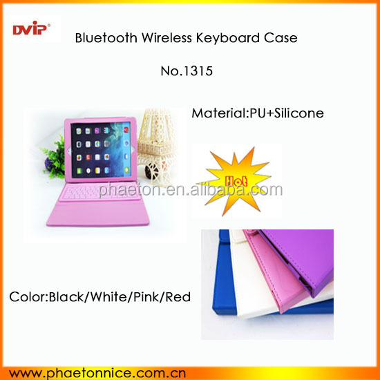 China wireless bluetooth keyboard with silicone PU Leather Case for Ipad air/ Ipad5 turkish language best selling products 2014