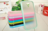 Fashion Bumper Color Frame TPU material With Frosted Transparent Back Cover Case For Samsung Galaxy S4 IV i9500