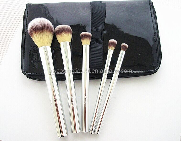 Metal handle 5pcs makeup brush set with travel case