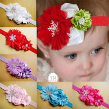 Baby elastic headband hair accessories with rhinestone snowflake and flower