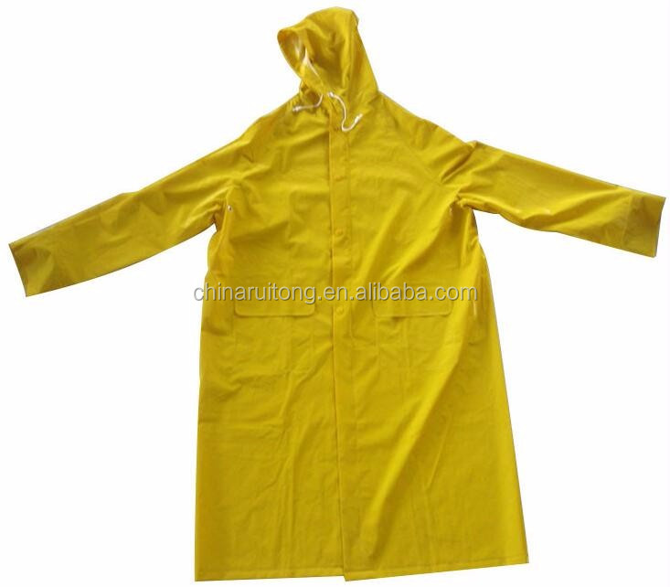 yellow polyester raincoats long sleeve waterproof rain coats for promotion