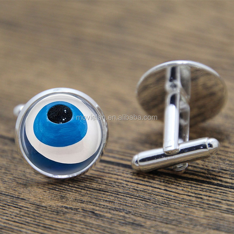 Evil Eye cufflink Talisman Jewelry Good Luck Charm Art cufflink Luck print glass cufflink