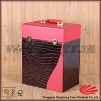 Crocodile skin leather 6 bottles wine carrier with dividers
