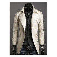 Wholesale high quality fashion european style vorgue spring hot sale casual slim men trench coat