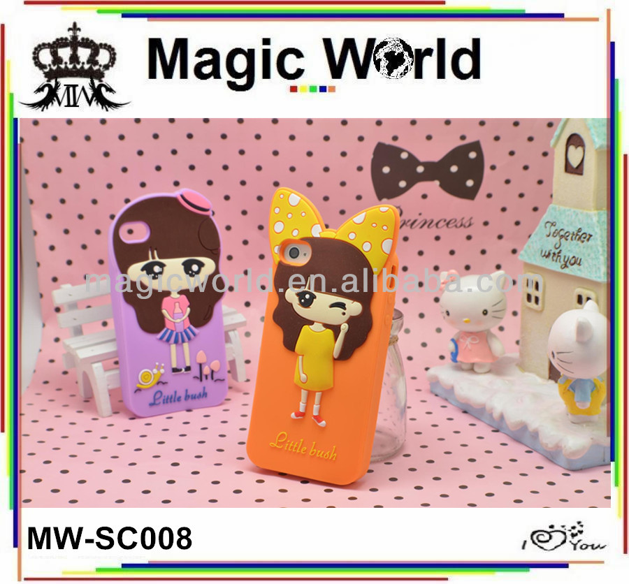 CUTE 3D GIRL SILICONE CELL PHONE CASE FOR IPHONE 5