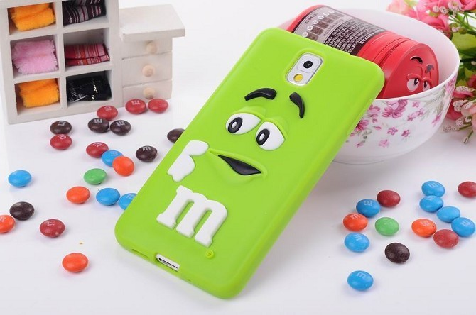 3D cute cartoon M&M Chocolate jelly Bean Silicone Case For Samsung galaxy note 3 n9000,100pcs/lot