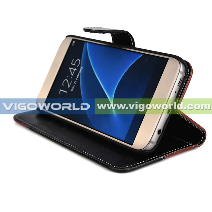 Classical leather case with two colors combination stand case with card slots for samsung s7