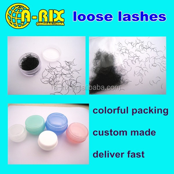 custom made eyelash packaging bulk loose eyelash extensions, loose eyelash extention lashes with colorful packing