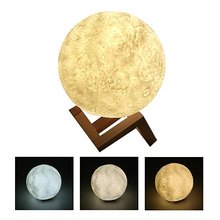 Factory Outlet Two Three Tone Touch Switch 16 Color Remote 3D Printing LED Moon Lamp Light Home Decor Gift Bedroom Night Light