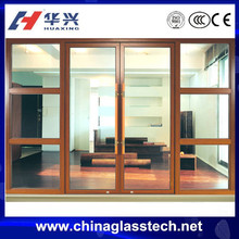 CCC certificate wood color aluminium alloy entry door glass inserts