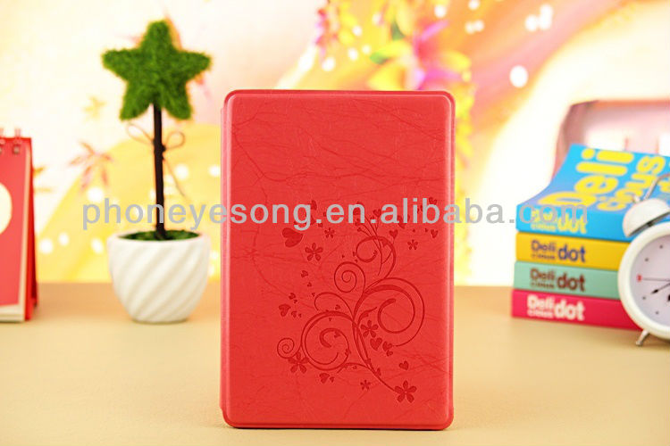 Lightning Pattern Flower Embossed Leather Stand Case for iPad mini