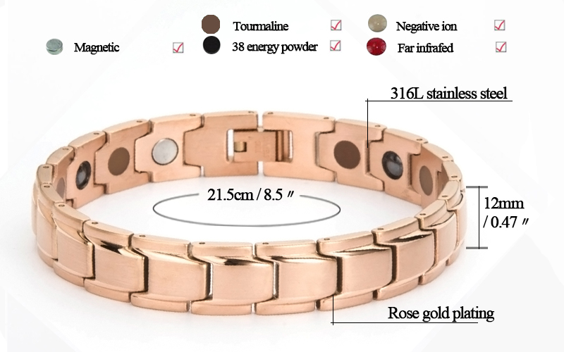 China wholesale silver black plated 3000 gauss magnetic titanium 316L stainless steel 5 in 1 health elements bracelet jewelry