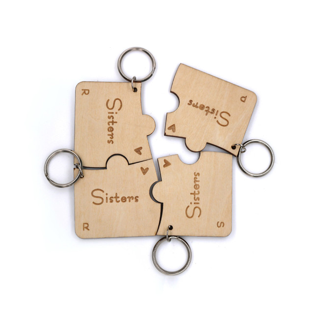 wood puzzle piece keychain/ personalized puzzle keychains