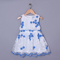 2015 Newest Girl Dress Infant O-neck Summer Cotton Dresses Kids Wear Girls Vest Party Embroidered Blue Costume GD50328-4