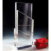 blank crystal trophy with transparent base MH-JB220