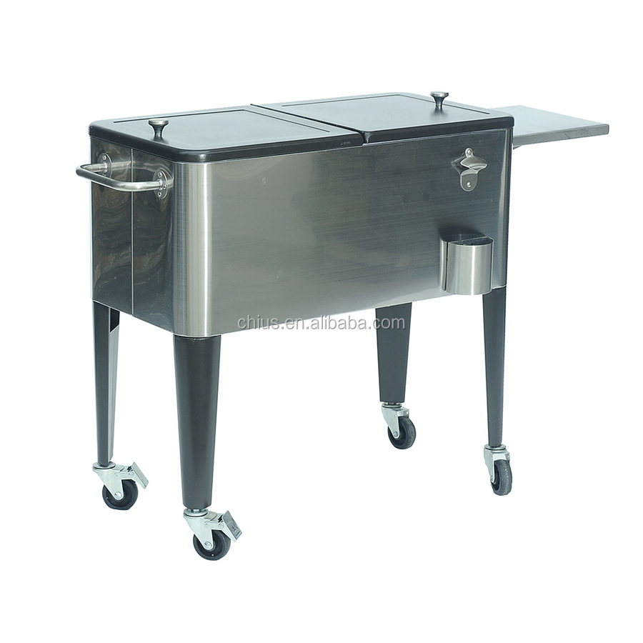 Steel Patio Cooler with Cart, 80-Quart, Beach Sand
