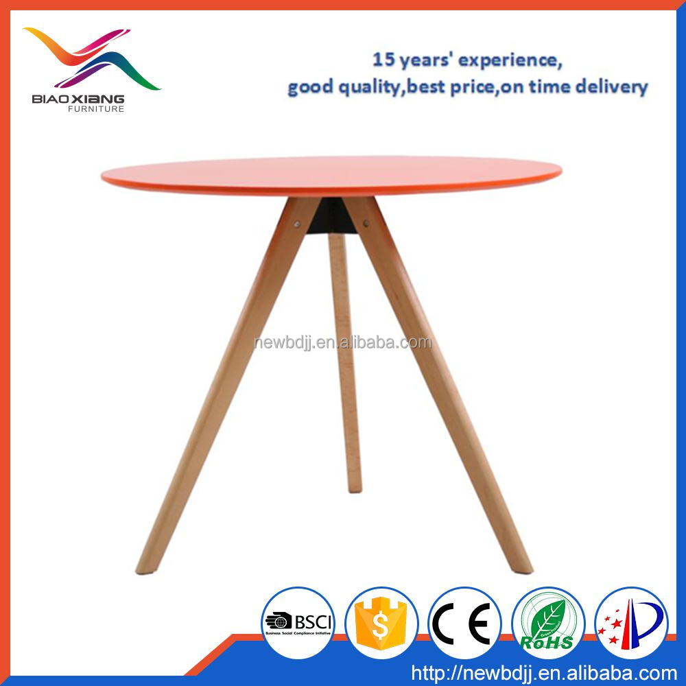 leisure MDF top wood legs orange 90cm round dining table