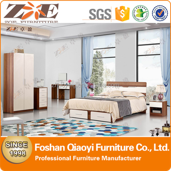 shunde furniture market wood double bed designs with box