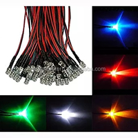 Pre-wired DC12V/24V 3mm dip led Red/Green/Blue/Yellow/White Pre Wired led cable indicator 20mm prewired led