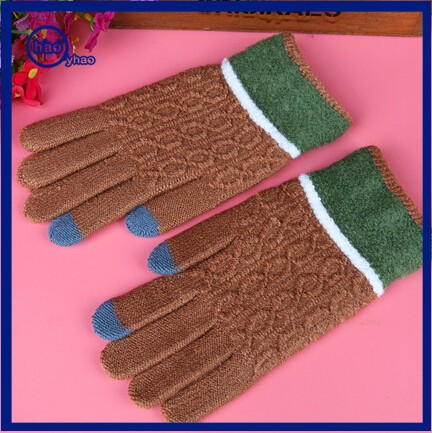 Yhao Touch Screen Winter Outdoor Warm Knit Mitten Gloves For Women