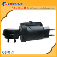 3 pin adaptor plug male to male electrical plug adapter with USB travel adaptor charger