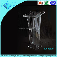 Hot sale new design transparency acrylic crystal pulpit plexiglass podium