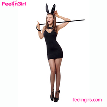 Black Bodycon V Neck Dress Animal Sexy Girl Sex Bunny Costume