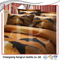 Microfiber brushed polyester fabric with disperse printing for bedding sheet