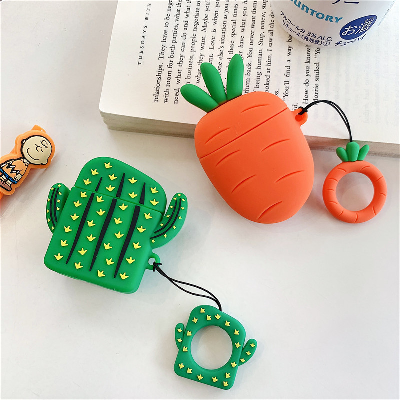 New 3D Cute Cactus Carrot Silicone Case For Apple For AirPods Cover Case Bluetooth Earphone Shockproof