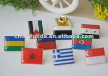 cross flags printing metal pin badge with epoxy coating