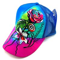 Sublimation printed gradually varied fabric 5 panel caps embroidery connection roses trucker mesh cap