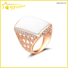 Guangzhou shining silver jewelry wholesale rose gold plating ceramic European wedding ring