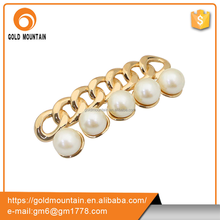 Popular pearl and jewelry shoe buckle alloy material women shoe ornaments for ladies shoe