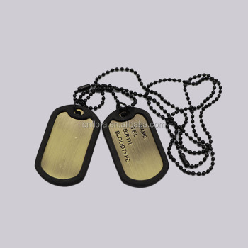 Wholesale customized logo Embossed military black white dog tag,laser engraved metal military gold plating dog tag
