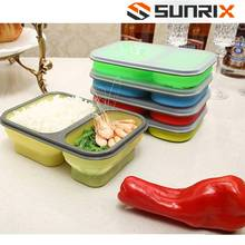 Wholesale Totally Sealable Square Silicon Portable Waterproof Office Lunch Boxes