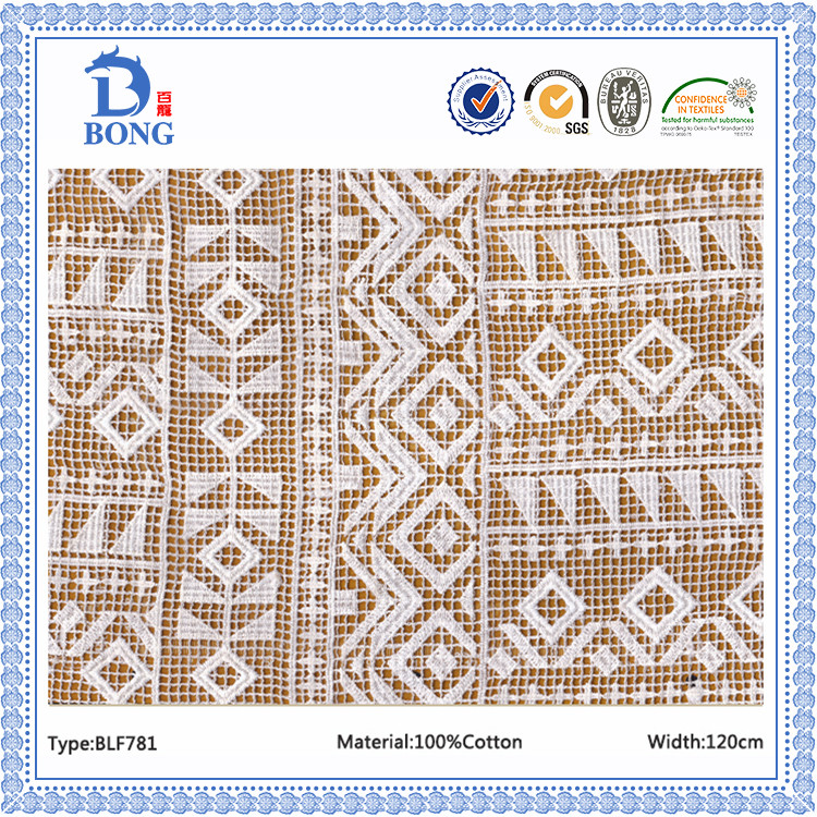 African 3d cotton guipure embroider lace fabrics wholesale