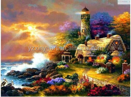 Needlework DIY Diamond painting,Set For Embroidery kits,Seaside Lighthouses House pattern Count Cross-Stitch decorative painting