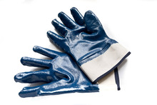 Brand MHR jersey liner industry anti-puncture blue nitrile gloves