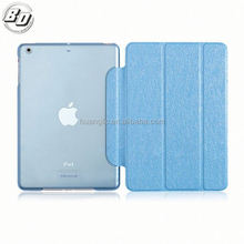 Wholesale Stand Back PC + Leather Smart Cover Case For iPad 6 Air 2 PU Leather PC Back Flip 3 Fold Cover
