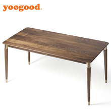 Yoogood Black Walnut Solid Wood And Brass Dining Table 1.4M - 9030001