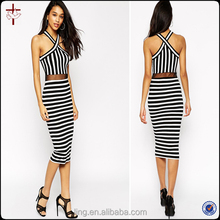 2015 Fashion Black and White Stripe Clothing Factories in China