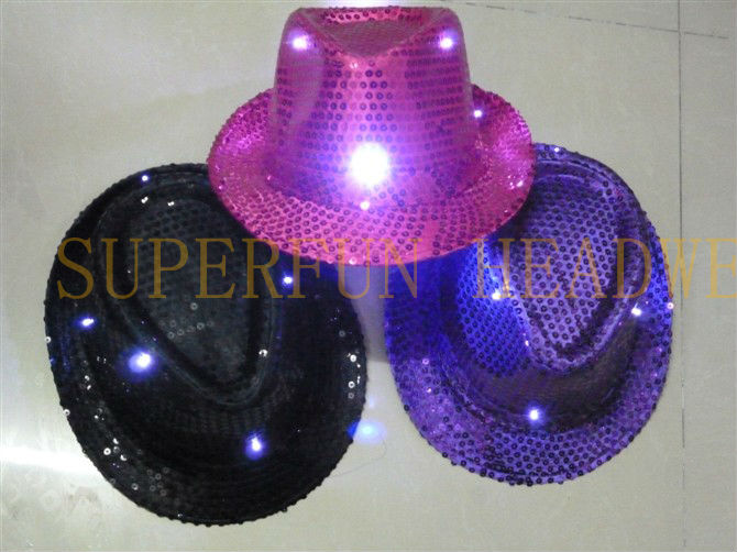 factory supply custom LED flashing lightup sequin fedora hats