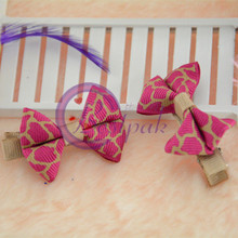 chinese red ribbon children bow tie hairpins