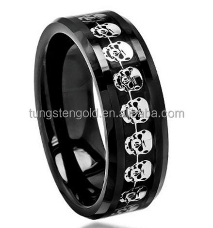 Tungsten expendables skull ring silver accessories inlay wholesale jewelry for men